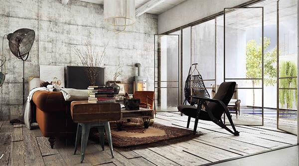 Phòng khách kiểu Vintage