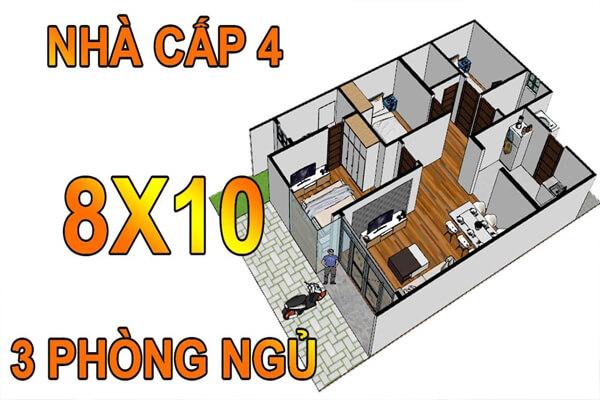 Nhà cấp 4 có diện tích 8x10m